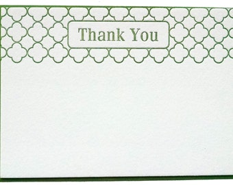 Modern Letterpress Thank You Notes in Sage Green - set of 5