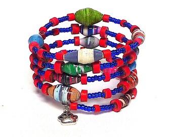 SEA SERPENT coil Beaded Bracelet by Beading Divas Fundraiser