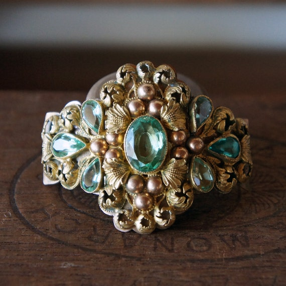 Glorious Early 19th Century French Ornate Cuff Theatre Bracelet Component with Green Paste and Brass