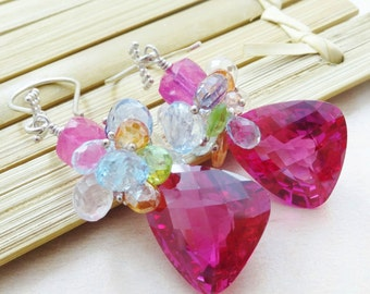 Red Topaz Earrings, Pink Topaz Earrings, Blue Topaz Earrings, Cluster Earrings.