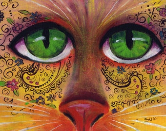 original art painting 8x10 zentangle cat face