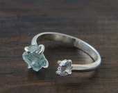 Aquamarine Herkimer Diamond Ring, Silver Open Ring, Double Stone Ring, Rough Stone Jewelry