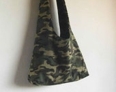 Large Hobo Bag Camouflage print canvas slouch tote Lined Handmade