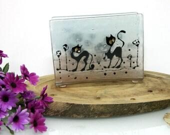 Napkin holder  -  Fused Glass black cats landscape