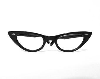 Winged Black Cat Eye Glasses Never Used True VIntage 50s 60s NOS Eyeglass Frame USA Horn Rim Sun Glasses Prescription-Quality Optical 44-20