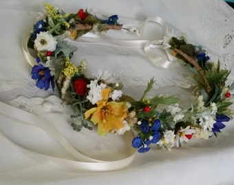 Wildflower hair wreath bridal floral headband yellow blue red summer wedding flower crown festival headband halo engagement photo prop