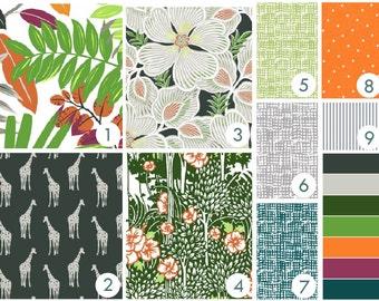 Tropical Giraffe Crib Bedding - Charcoal, Gray, Grass Green, Orange
