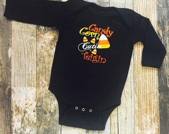 Candy Corn Cutie Halloween Fall Personalized Girls Child's Baby's T Shirt or Bodysuit