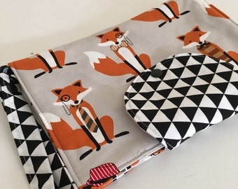Mr Fox and Triangles Nappy Wallet /Clutch New Design Fits all Wipes