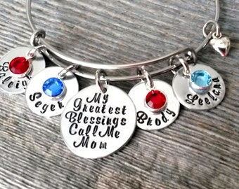 Personalized Mom Bracelet-My Greatest Blessings Call Me Mom,Mothers Day Gift for Mom,Mom Bracelet, Custom Name Bracelet, Personalized, Mommy