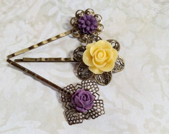 Yellow And  Purple Floral Hair Clips