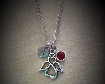 Angel necklace Birthstone necklace Women's jewelry Jewelry for her Valentine gift Personalized Monogram Angel charm Birthstone charm