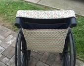 Navy Blue, Cream, Red, Reversible Wheelchair Bag, Tote. Wheelchair Caddy