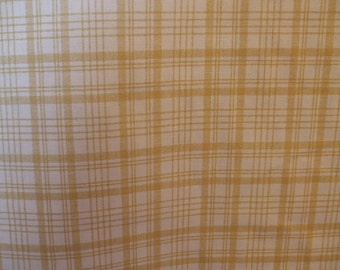 Gold and Cream Plaid Check Fabric, Drapery Fabric, Upholstery Fabric