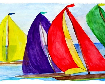 Colorful sails nautical sailboats coastal boat throw blanket from my original art.