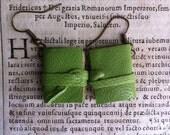 Mini book earrings, green