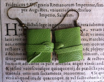 Mini book earrings, green