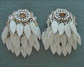 Retro Plastic White Feather Fringe Earrings