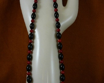 16 inch long 6 mm red bamboo coral with black Onyx beaded Necklace jewelry V30-140