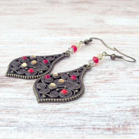 Bohemian Moroccan Earrings - Tribal Statement Earrings - Moroccan Boho Earrings - Ethnic Earrings - Ethnic Boho Earrings - Moroccan Earrings