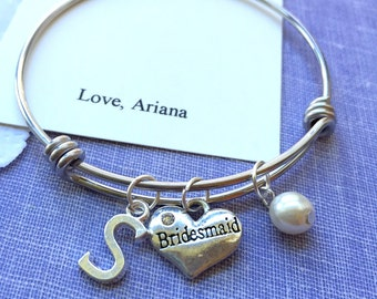 Bridesmaid, glass pearl, bangle, bracelet. FREE Notecard & organza bag.