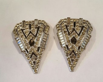 Vintage 1930s Rhinestone Dress Clips Pins