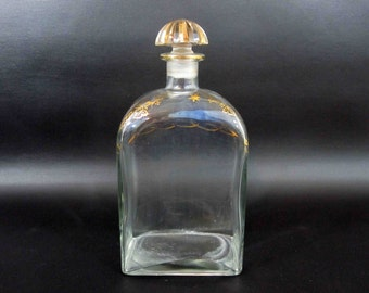 "Vintage Decanter with Gold Detail. Marked: Liquor Bottle. Jerez Spain"". Circa 1960's."