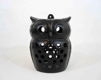 Vintage Cast Iron Owl Hanging Lantern. Circa 1960's.