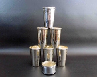 """Vintage """"Universal Landers, Frary, Clark"""" Nesting Cups with Screw on Lid. Set of Six. Circa 1910's - 1920's."""