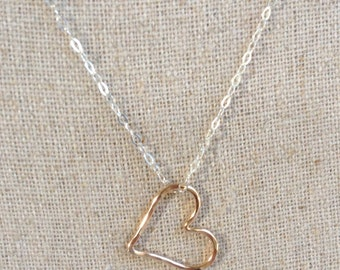 Gold Heart Charm on Sterling Silver Chain