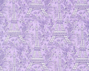 Michael Miller Fabric Eiffel Tower Rouge Purple, Choose your cut