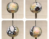 ValVaaniaLampwork BUTTERFLY WINGS Glass Bead MARBLE 20mm Perfect for Wire Wrapping Sterling Silver Leaf