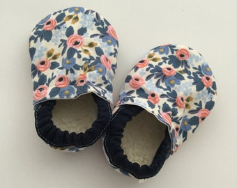 Designer Baby Vegan Sherpa Booties Slippers Soft Sole Faux Suede Crib Fabric Shoes Baby Gift - Trendy Navy Blue Floral Rifle Paper Co