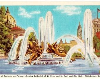 Vintage Philadelphia Postcard - Swann Memorial Fountain (Unused)