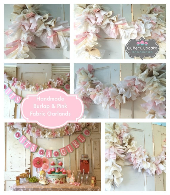 baby girl burlap shower party decoration 6 10 foot fabric garland