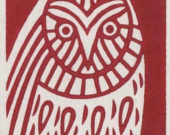 Red Owl. Linocut Greeting Card