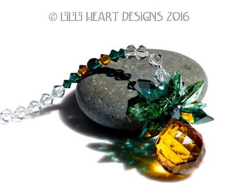 m/w Swarovski Crystal Pineapple Light Topaz 20mm Ball with Emerald and Peridot Leaves  Suncatcher or Car Charm  by Lilli Heart Designs