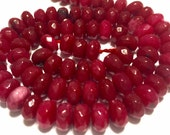 """Red quartz faceted rondelle 9mm round beads whole 15"""" strand"""