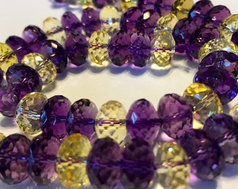 Ametrine AAAA quality facted LARGE rondelle beads