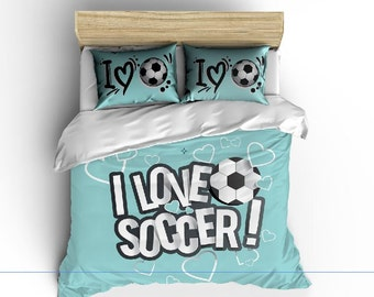I Love Soccer Bedding, Lt Aqua or any color,  Personalized with your Name -Toddler, Twin, F-Queen or King Size