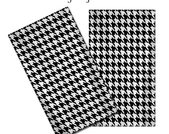 Hand Towels in Preppy Black & White Houndstooth Pattern - Any Color and Personalization of your choice