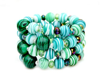 Green Malachite Artisan Frosted Glass Beaded Stretch Stackable Shamrock Statement Bracelet Fun Fresh Summer Fashion Style by Mei Faith