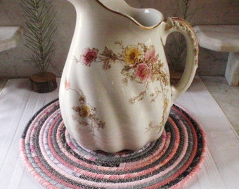 Pink and Grey Coiled Mat, Chair Pad, Hot Pad, Trivet - LARGE ROUND - Handmade by Me