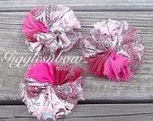 Chiffon Twirl Flowers- Peacock 3 inch - Fabric Flowers, Flowers for Hair, Flowers for Headband, DIY Hairbow Supplies- Ballerina Flowers