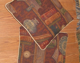 "Set of Two 16"" Book Lover Bookman Bookwoman Book Shelf Woven Tapestry Decorative Pillows Browns and Earth Tones, Decorative Pillows"