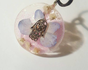 Hamsa Hand Real Flower  Necklace Bohemian Jewelry Charm Spiritual  Protection Luck Blessing Resin Pendant Nature Earth Glitter Purple