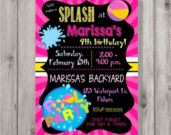 Digital Pool Party PInk Chalkboard Style Birthday Girl Party Invitation Printable