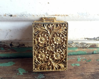 Vintage Solid Perfume Compact Box Gold Filigree Flowers