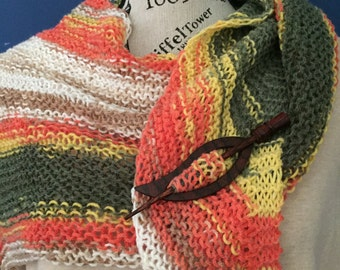 Hand Knit Scarf Asymetrical Autumn Colors Soft Nylon Acrylic Free US Shipping!