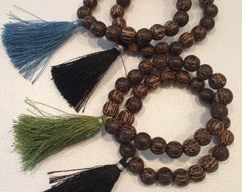 Tassel Bracelet Palm Wood Beads Bohemian Stacking Bracelet Boho Style - SWAY handmade by SplendorVendor